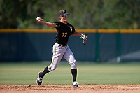 Pittsburgh Pirates shortstop Andrew Walker (77) throws to first base during a minor league Extended Spring Training intrasquad game on April 1, 2017 at Pirate City in Bradenton, Florida.  (Mike Janes/Four Seam Images)