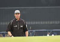 12th July 2021; The Royal St. George's Golf Club, Sandwich, Kent, England; The 149th Open Golf Championship, practice day; Webb Simpson (USA) surveys his pitch shot to the 18th green