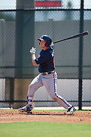 Atlanta Braves Andrew Moritz (91) follows through on a swing a Florida Instructional League game against the Philadelphia Phillies on October 5, 2018 at the Carpenter Complex in Clearwater, Florida.  (Mike Janes/Four Seam Images)