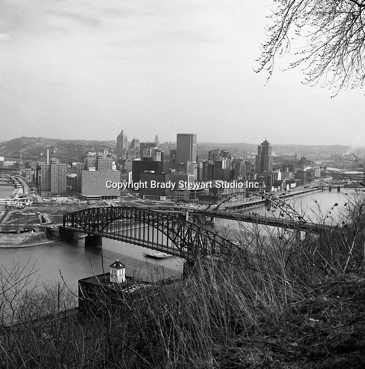 Pittsburgh PA:  Views of the city from Mount Washington.  Point Bridge in foreground with the new Fort Pitt Bridge behind it.