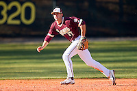 Third baseman Matt Leeds #17 of the College of Charleston Cougars breaks towards a ground ball against the Davidson Wildcats at Wilson Field on March 12, 2011 in Davidson, North Carolina.  The Wildcats defeated the Cougars 8-3.  Photo by Brian Westerholt / Four Seam Images