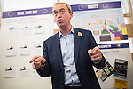 """© Joel Goodman - 07973 332324 . 09/06/2016 . Manchester , UK . Liberal Democrat leader TIM FARRON campaigning for Remain at an """" EU Tunnel """" display , at the People's History Museum in Manchester . Photo credit : Joel Goodman"""