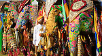 Mahout and his painted elephants, Jaipur, India<br /> Elaborately adorned elephants compete in a beauty pageant during Holi, the Hindu festival of colors, in Jaipur. Beneath such intricate paint jobs, some depicting peacocks and tigers, it becomes easy to lose sight of the giant animals themselves. Jaipur, India