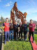 Monday 25th February 2019 | Towns Cup 2019<br /> <br /> Grant Bartley representing Ballyclare RFC, Luke Crozier representing Armagh RFC, Cathal Garvey representing the sponsors River Rock, Ulster Branch Competitions Secretary Greg Irwin, Michael Treanor representing Clogher Valley RFC and Ryan Cathcart representing Enniskillen RFC at the River Rock Ulster Towns Cup Semi-Final draw which was held at Kingspan Stadium today. Photo by John Dickson / DICKSONDIGITAL