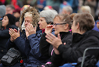 Pictured: People applaud after the two minute silence. Saturday 11 November 2017<br /> Re: Armistice Day, two minutes were observed to mark remembrance at Castle Square in Swansea, Wales, UK.