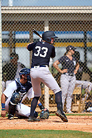 FCL Yankees Trey Sweeney (33) bats during a game against the FCL Tigers West on July 31, 2021 at Tigertown in Lakeland, Florida.  (Mike Janes/Four Seam Images)