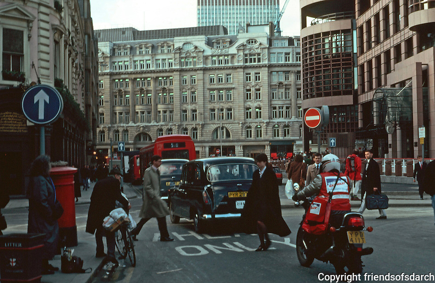 London:  Liverpool St. looking west past Broad St. at Blomfield St.  Broadgate Development on right.  Photo Jan. '90.