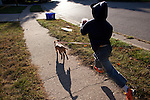 One of the nicest things anyone has ever done for my older son is to give him a dog-walking job. Three mornings a week he goes down the street to get Aggy, and the two of them burst forth, full of energy and squirrel-chasing enthusiasm.