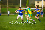 St Senans Sean Weir tries to get past Pa Warren of Gneeveguilla in the County Premier Junior football Quarter Final