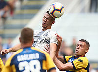 Calcio, Serie A: Inter Milano-Parma, Giuseppe Meazza stadium, September 15, 2018.<br /> Inter's Ivan Perisic  (top) in action with Parma's Riccardo Gagliolo (l) and Simone Iacoponi (r) during the Italian Serie A football match between Inter and Parma at Giuseppe Meazza (San Siro) stadium, September 15, 2018.<br /> UPDATE IMAGES PRESS/Isabella Bonotto