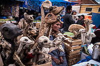 "Selling of Zullus (dried llama fetuses) Potosi, Bolivia. 27 January 2016. Llama fetuses are used in the Andean region to make offerings to the Pachamama or Mother Earth./ Vendedora de zullus (fetos de llama disecados) Potosi, Bolivia. Los fetos de llama disecados son utilizados en la región andina para hacer ofrendas a la Pachamama o Madre Tirerra. The customs and beliefs of Andean people are a hybrid of catholic religion and old beliefs. One of its highest expressions is within the Bolivian mining culture that worships the Pacha Mama (Mother Earth), the Celestial Divinity personified in the Catholic God and ""El Tio"" of the mine (Satan). To the latter, who rules the underworld, they make offerings with sacrifices of llamas inside the mines to ask for protection in the depths of the mountain and abundant mineral."