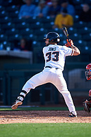 Oregon State Beavers Preston Jones (33) at bat before an NCAA game against the New Mexico Lobos at Surprise Stadium on February 14, 2020 in Surprise, Arizona. (Zachary Lucy / Four Seam Images)