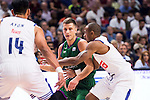 Real Madrid's player Gustavo Ayon and Dontaye Draper and Unicaja Malaga's player Nemanja Nedovic during match of Liga Endesa at Barclaycard Center in Madrid. September 30, Spain. 2016. (ALTERPHOTOS/BorjaB.Hojas)