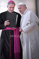 Pope Francis  Monsignor Georg Ganswein during his weekly general audience in St. Peter square at the Vatican, Wednesday. March 11, 2015