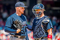 9 July 2017: Atlanta Braves catcher Tyler Flowers has words with pitcher Sean Newcomb during a game against the Washington Nationals at Nationals Park in Washington, DC. The Nationals defeated the Braves to split their 4-game series. Mandatory Credit: Ed Wolfstein Photo *** RAW (NEF) Image File Available ***