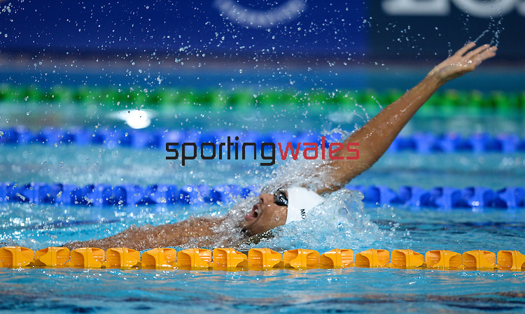 Wales Xavier Mohammed in action during todays heats<br /> <br /> Photographer Ian Cook/Sportingwales<br /> <br /> 20th Commonwealth Games - Swimming -  Day 4 - Monday 28th July 2014 - Glasgow - UK