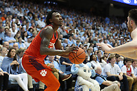 CHAPEL HILL, NC - JANUARY 11: Tevin Mack #13 of Clemson University takes a shot during a game between Clemson and North Carolina at Dean E. Smith Center on January 11, 2020 in Chapel Hill, North Carolina.