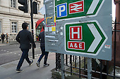 Accident & Emergency entrance sign to University College London Hospital.