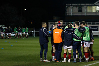 London Scottish huddle pre match during the Greene King IPA Championship match between London Scottish Football Club and Nottingham Rugby at Richmond Athletic Ground, Richmond, United Kingdom on 7 February 2020. Photo by Carlton Myrie.