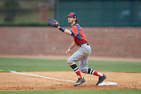 NJIT Highlanders first baseman Michael Anastasia (9) waits for a throw during the game against the High Point Panthers at Williard Stadium on February 18, 2017 in High Point, North Carolina. The Highlanders defeated the Panthers 4-2 in game two of a double-header. (Brian Westerholt/Four Seam Images)