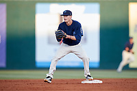 Mobile BayBears second baseman Hutton Moyer (11) during a game against the Pensacola Blue Wahoos on April 25, 2017 at Hank Aaron Stadium in Mobile, Alabama.  Mobile defeated Pensacola 3-0.  (Mike Janes/Four Seam Images)