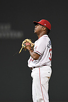 Closer Juan Florentino (37) of the Greenville Drive pauses for a moment before securing the final out in an 8-3 win over the Kannapolis Intimidators to earn the 2017 South Atlantic League Championship in Game 4 of the Championship Series on Friday, September 15, 2017, at Fluor Field at the West End in Greenville, South Carolina. It was Greenville's first SAL Championship. Greenville won the series 3-1. (Tom Priddy/Four Seam Images)