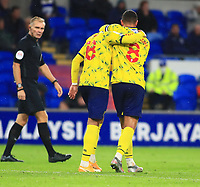 28th September 2021; Cardiff City Stadium, Cardiff, Wales;  EFL Championship football, Cardiff versus West Bromwich Albion; Karlan Grant and Jake Livermore of West Bromwich Albion celebrate after going 0-2 up in the 56th morning