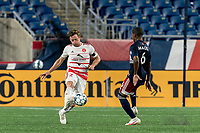 FOXBOROUGH, MA - AUGUST 21: Ian Antley #2 of Richmond Kickers controls the ball as Maciel #6 of New England Revolution II closes during a game between Richmond Kickers and New England Revolution II at Gillette Stadium on August 21, 2020 in Foxborough, Massachusetts.