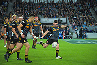 Chiefs' Bryn Gatland kicks for touch during the Super Rugby Aotearoa match between the Blues and Chiefs at Eden Park in Auckland, New Zealand on Saturday, 1 May 2021. Photo: Dave Lintott / lintottphoto.co.nz