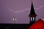 Storms rolled in at Churchill Downs racing after dark .  June 29, 2013.