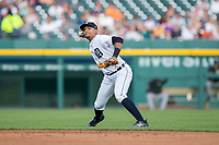 Detroit Tigers second baseman Dixon Machado (49) makes a throw to first base against the Chicago White Sox at Comerica Park on June 2, 2017 in Detroit, Michigan.  The Tigers defeated the White Sox 15-5.  (Brian Westerholt/Four Seam Images)