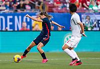 FRISCO, TX - MARCH 11: Tobin Heath #17 of the United States takes a shot during a game between Japan and USWNT at Toyota Stadium on March 11, 2020 in Frisco, Texas.