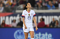 JACKSONVILLE, FL - NOVEMBER 10: Christen Press #23 of the United States grimaces during a game between Costa Rica and USWNT at TIAA Bank Field on November 10, 2019 in Jacksonville, Florida.