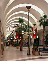 The modern interior architecture of a shopping mall.