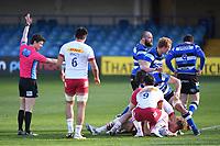 6th February 2021; Recreation Ground, Bath, Somerset, England; English Premiership Rugby, Bath versus Harlequins; Referee Craig Maxwell-Keys awards a penalty to Bath
