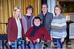 Deirdre Walsh Radio Kerry, Anne Alcock Tralee, Ian O'Connell Killarney, fr Donal O'Connor and Elma Walsh Tralee who all contributed at the Faith in the Faces of Life's Challanges talk in the Gleneagle Hotel on Wednesday night