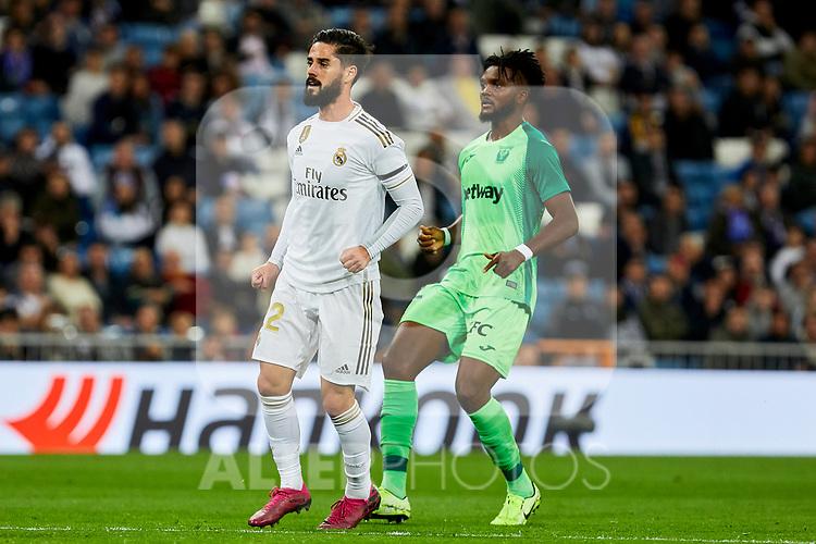 Francisco Alarcon 'Isco' of Real Madrid and Kenneth Josiah Omeruo of CD Leganes during La Liga match between Real Madrid and CD Leganes at Santiago Bernabeu Stadium in Madrid, Spain. October 30, 2019. (ALTERPHOTOS/A. Perez Meca)