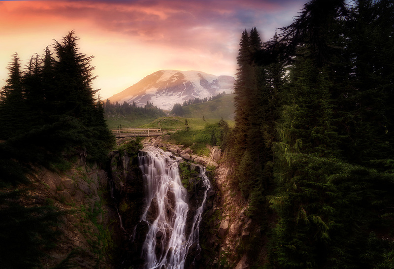 Myrtlle Falls and sunset. Mt. Rainier National Park, Washington
