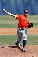 Willie Kuhl of the Cal State Fullerton Titans pitches during a intrasquad game at Goodwin Field on October 13, 2013 in Fullerton, California. (Larry Goren/Four Seam Images)