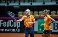 2016, 12 April, Arena Loire, Trélazè,  Semifinal FedCup, France-Netherlands,  Dutch Coach Martin Bohm instructs Cindy Burger<br /> Photo:Tennisimages/Henk Koster
