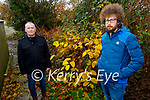 Tom Kennedy from Rusheen, Ballylongford, showing Cllr Michael Foley the invasive Japanese Knotweed that is on his property