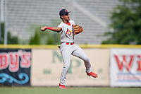 Johnson City Cardinals second baseman Moises Castillo (7) throws to first base during the first game of a doubleheader against the Princeton Rays on August 17, 2018 at Hunnicutt Field in Princeton, Virginia.  Johnson City defeated Princeton 6-4.  (Mike Janes/Four Seam Images)