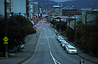 Taranaki St at 7.30am during Level 4 lockdown for the COVID-19 pandemic in Wellington, New Zealand on Monday, 23 August 2021.