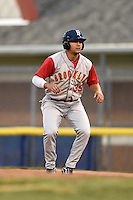 Brooklyn Cyclones outfielder Michael Conforto (39) leads off first during a game against the Batavia Muckdogs on August 11, 2014 at Dwyer Stadium in Batavia, New York.  Batavia defeated Brooklyn 4-3.  (Mike Janes/Four Seam Images)