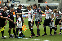 ATTENTION SPORTS PICTURE DESK<br /> Pictured: (L-R) Garry Monk, Dorus de Vries, Ashley Williams and Alan Tate of Swansea City in action<br /> Re: Coca Cola Championship, Swansea City Football Club v Newcastle United at the Liberty Stadium, Swansea, south Wales. 13 February 2010