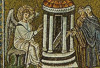 Ravenna: Mosaid--The Mary's at the sepulchre, 6th century. Basilica of Nuovo Sant'Apollinare.
