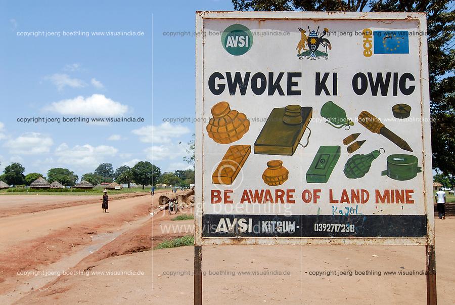 UGANDA, Kitgum, land mine signboard, near IDP camp land mines were used in war between LRA Lords resistance army and Uganda army