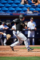 Army West Point Matt Hudgins (5) at bat during a game against the Michigan Wolverines on February 18, 2018 at First Data Field in St. Lucie, Florida.  Michigan defeated Army 7-3.  (Mike Janes/Four Seam Images)