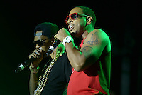 """Largo, MD - July 12, 2014: Grammy award winning Hip Hop entertainer and actor Ludacris (r) performs at the 1st annual International Festival at the Largo Town Center in Largo, MD, July 12, 2014. He is also known for his roles in the """"Fast and Furious"""" movies. (Photo by Don Baxter/Media Images International)"""