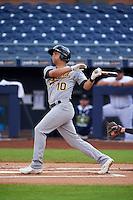Mesa Solar Sox second baseman Chad Pinder (10) at bat during an Arizona Fall League game against the Peoria Javelinas on October 21, 2015 at Peoria Stadium in Peoria, Arizona.  Peoria defeated Mesa 5-3.  (Mike Janes/Four Seam Images)